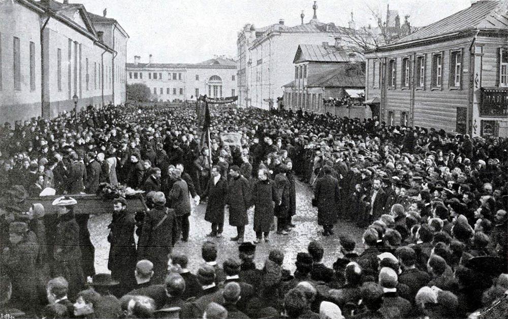 Демонстрация в день похорон Н. Э. Баумана.