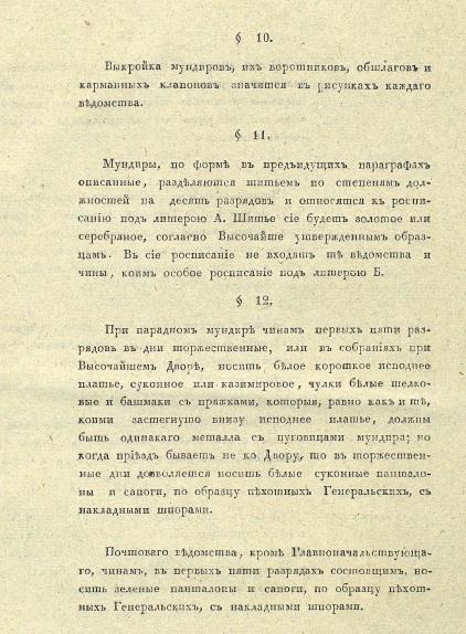 Положение о гражданских мундирах было подписано Николаем I 11 марта (27 февраля) 1834 года