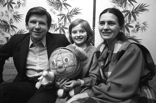 Катя Лычева с родителями.