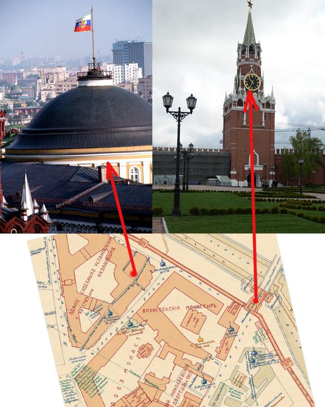 На плане Кремля С. П. Бартенева (1910 г.) - монастыри и дворец. Сейчас рядом с резиденцией президента открытый для туристов парк.