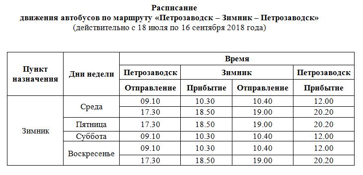 расписание Зимник - Петрозаводск