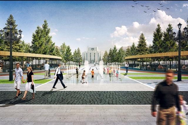 Проект реконструкции площади Революции. Вид на Драмтеатр.