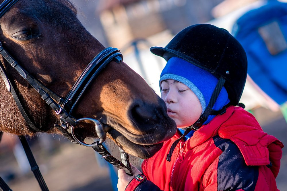 Иппотерапия - это не только упражнения, но и общение с лошадьми.