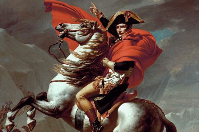Наполеон на перевале Сен-Бернар. Жак Луи Давид изображает будущего императора ведущим войска в бой — к неминуемому триумфу.