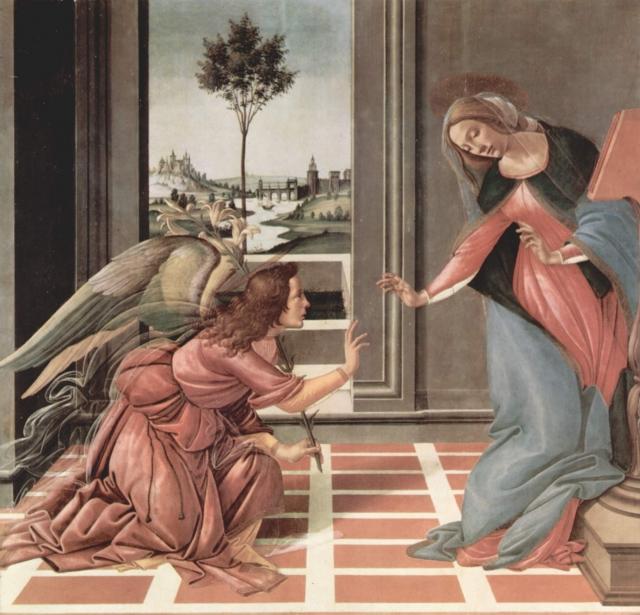 «Благовещение». Сандро Боттичелли. 1489—1490 годы. Уффици, Флоренция.