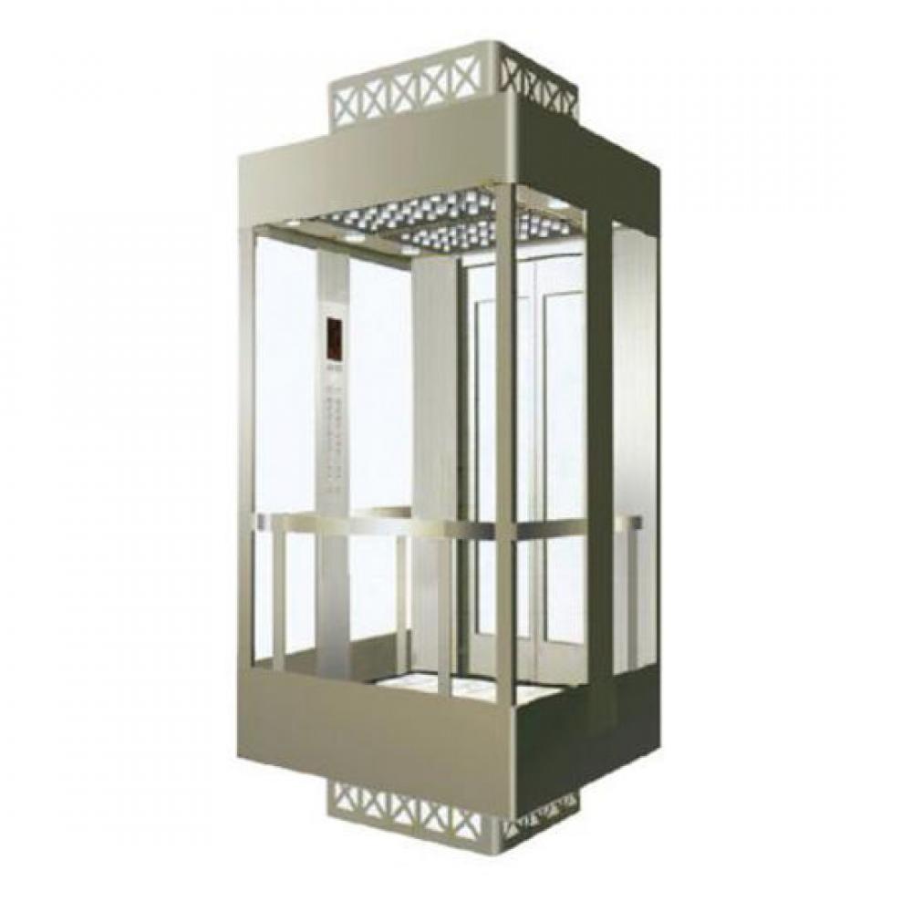 Иллюстрация панорамного лифта со стеклянной шахтой.