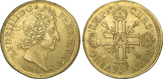 Людовик XIV на монетах. 1701 год.