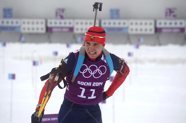Александр Логинов (Россия) на тренировке сборной России по биатлону перед началом XXII зимних Олимпийских игр в Сочи.