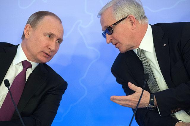 Владимир Путин и президент Российского союза промышленников и предпринимателей Александр Шохин.