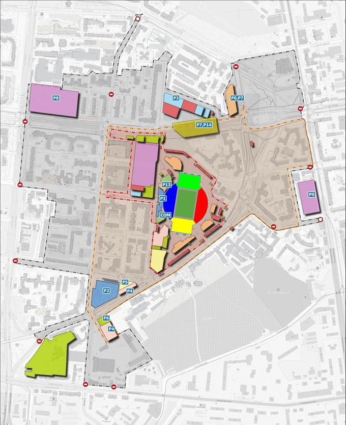 Схема с указанием парковочных карманов, на которых будет запрещена парковка в дни проведения матчей ЧМ-2018