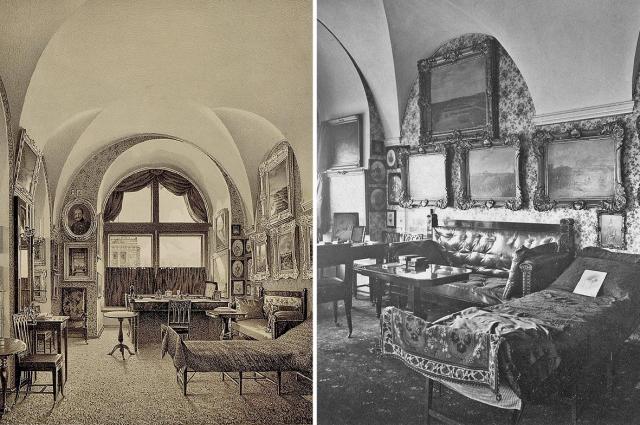 Кабинет Николая I в Зимнем дворце: гравюра 1855 г. и фотография К.К. Кубеша (1917 г.)