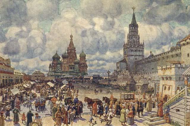 Картина Аполлинария Васнецова «Красная площадь во второй половине XVII века».