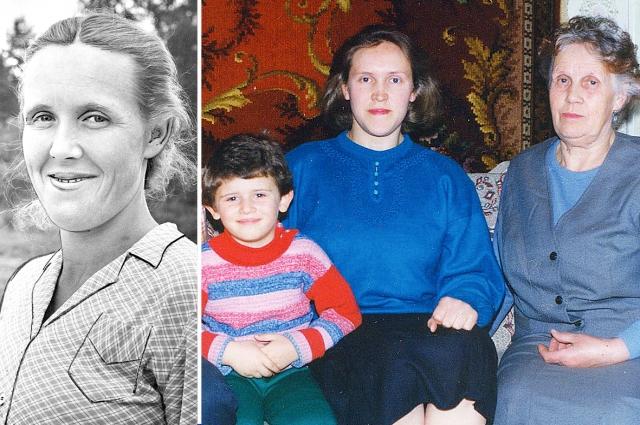 Раиса Дюмина: фото на Доску почета (слева); с дочерью и внуком.