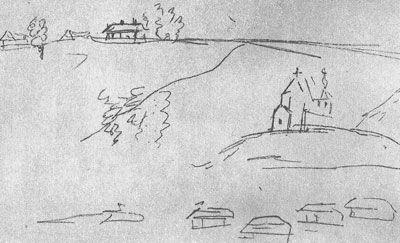 Тот же храм на рисунке А.С. Пушкина, правда, с другого ракурса – с берега Волги. Слева вверху – дом Карамзиных (не сохранился).