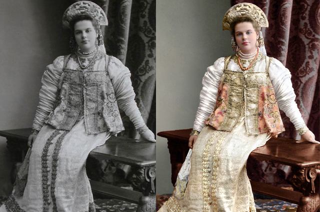 Княжна Долгорукая танцевала на балу в платье XVII столетия.