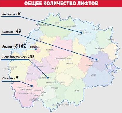 Общее количество лифтов в Рязанской области.