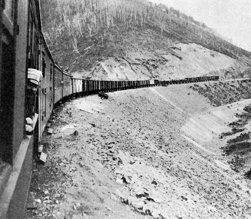 Русские железные дороги для пассажиров были самыми деш                            омфорта- бельными в мире. Поезд едет по Сибирской железной дороге.