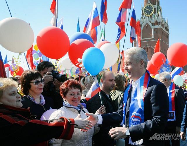 Участники шествия были рады увидеть в своих рядах столичного мэра.