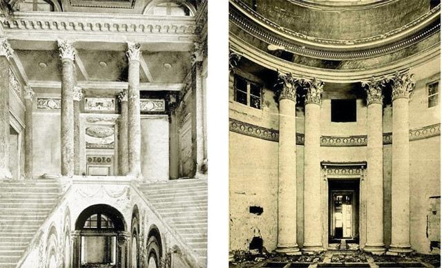Фрагменты интерьера дворца: лестница и круглый зал.