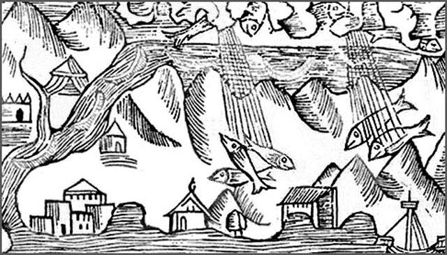 Гравюра с изображением «рыбного дождя» (О. Магнус 1555 год)
