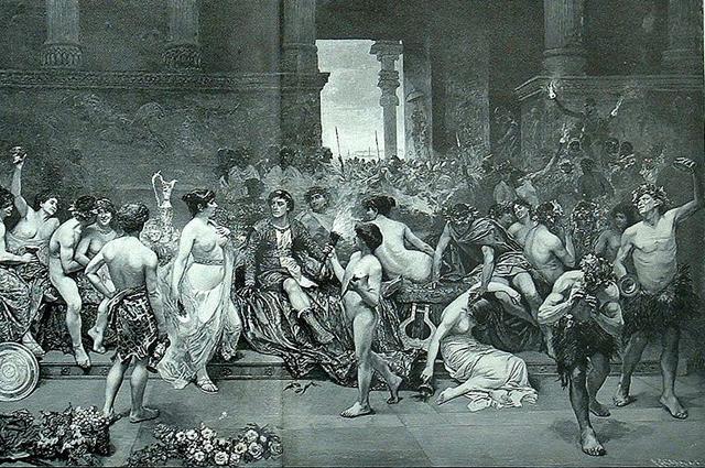 Александр Македонский пирует с гетерами в захваченном Персеполисе. Рисунок Г. Симони