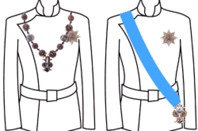 Правила ношения ордена Святого Андрея Первозванного. Слева вариант для торжественных случаев, а также для ношения под мантию.