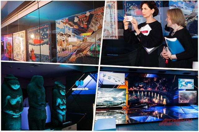 Интерактивная зона партнёра вечера компании «Норникель». Выставка платков-картин дизайнерской марки Radical Chic посвященная «Норникелю».