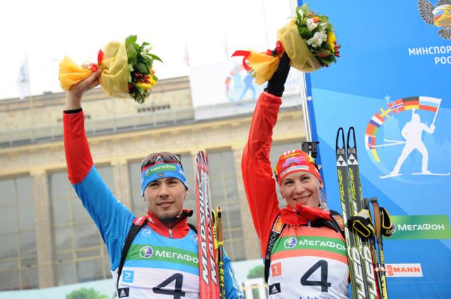 Российский спортсмен Антон Шипулин и спортсменка из Словакии Анастасия Кузьмина