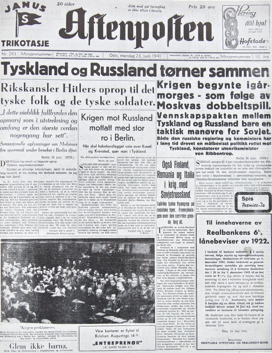 Первая полоса Aftenposten от 23 июня 1941 года