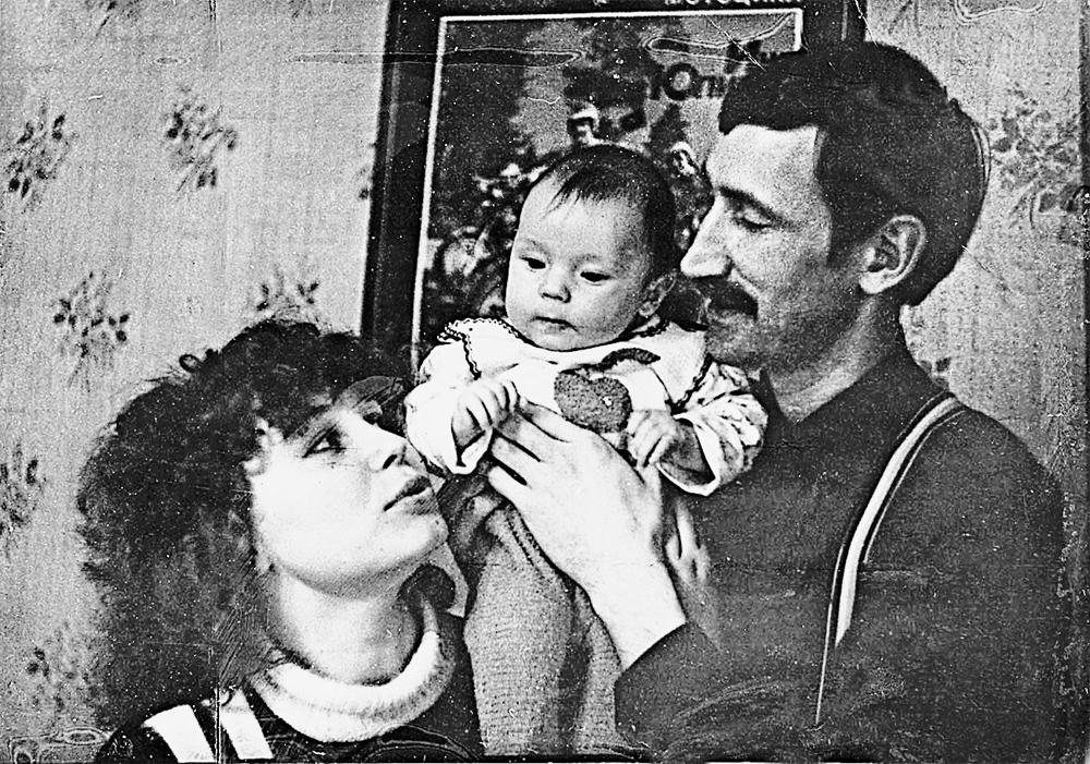 С женой Ириной и сыном Андреем, 1987 г.