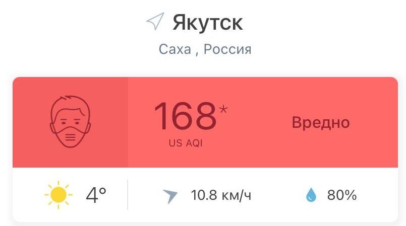 Качество воздуха в Якутске хуже, чем в крупных городах Китая.
