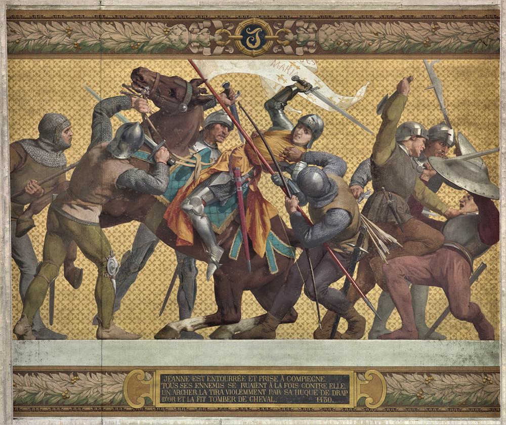 Бургундцы захватывают Жанну д'Арк в плен. Фреска в Пантеоне, Париж.
