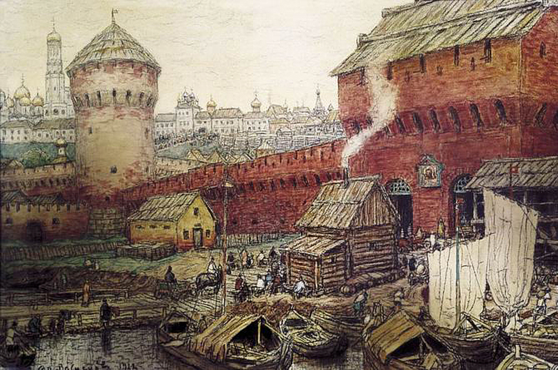 Аполлинарий Васнецов. Спасские (Водяные) ворота Китай-города в XVII в