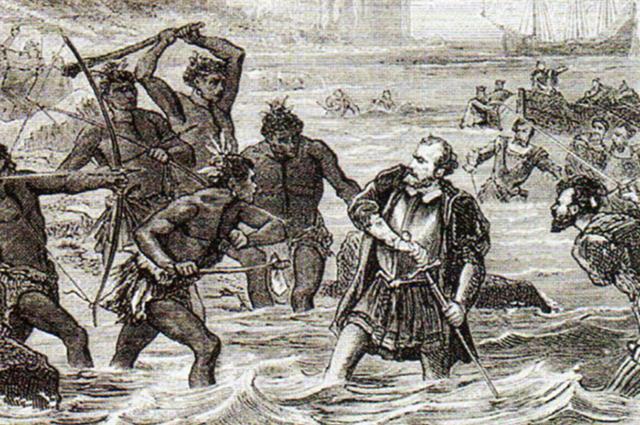 Смерть Магеллана. Рисунок 1860 года