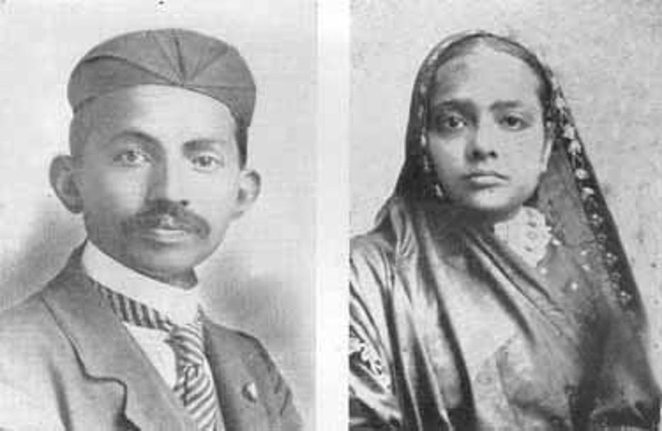 Мохандас Ганди и его жена Кастурбай (1902)