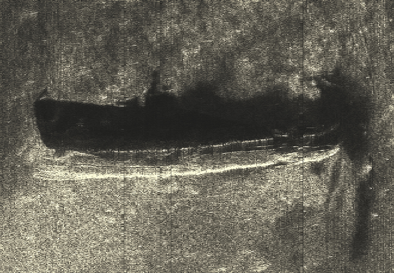 Так на экране гидролокатора выглядит лежащая на грунте подводная лодка С-9