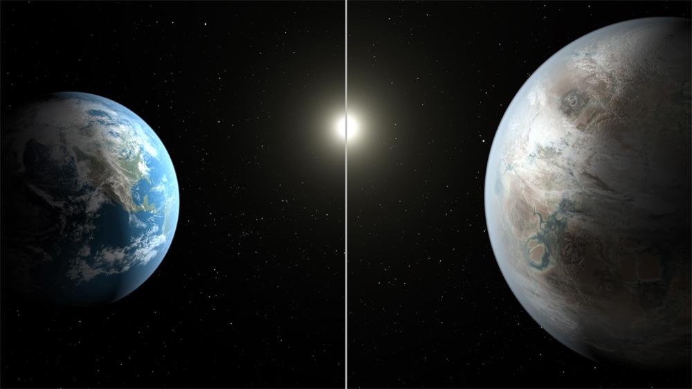 Сравнение Земли (слева) и новой планеты Кеплер-452b