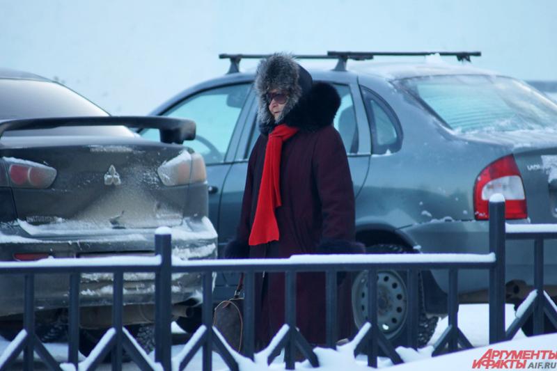 Пермские пенсионеры любят прогуляться в морозы по скверам и паркам.