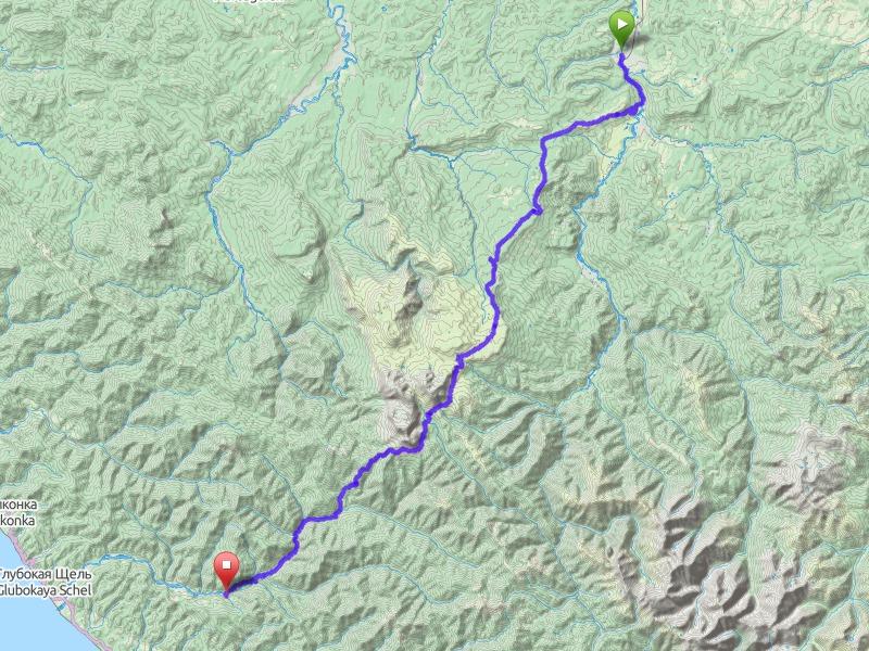 Туристский маршрут «Через горы к морю». Топографическая карта предоставлена проектами https://www.opencyclemap.org/ и https://www.openstreetmap.org/
