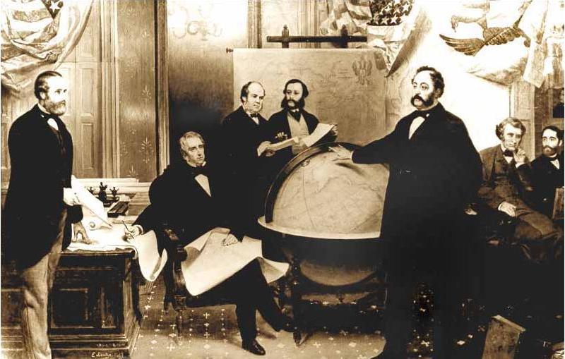 Подписание договора о продаже Аляски 30 марта 1867 года. Слева направо: Роберт С. Чу, Уильям Г. Сьюард, Уильям Хантер, Владимир Бодиско, Эдуард Стекль, Чарльз Самнер, Фредерик Сьюард