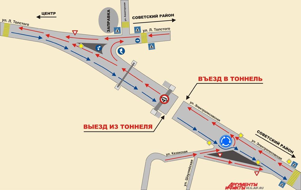 Схема движения в районе Тулака.