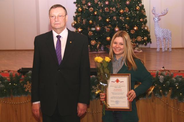 Награждение корреспондента АиФ в Туле Антонины Поздняковой.