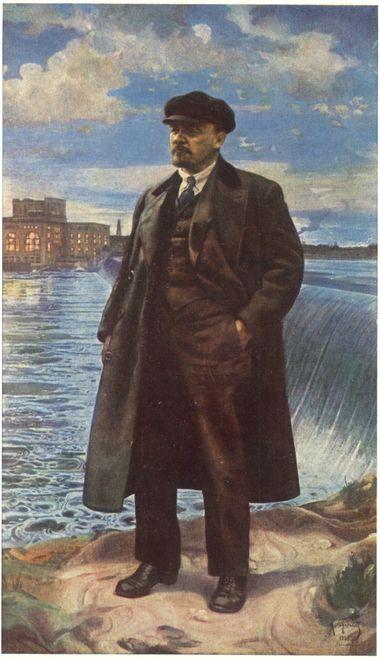 Ленин на фоне Волховстроя.
