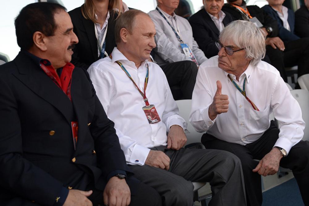 Владимир Путин, Берни Эклстоун и Аль Халиф в одной из лож Паддок-Клуба на гонке Формулы-1 в Сочи
