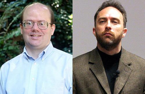 Ларри Сэнгер (слева) и Джимми Уэльс (справа) основатели Википедии