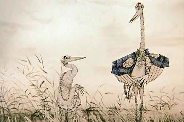 Кадр из мультфильма «Цапля и журавль».