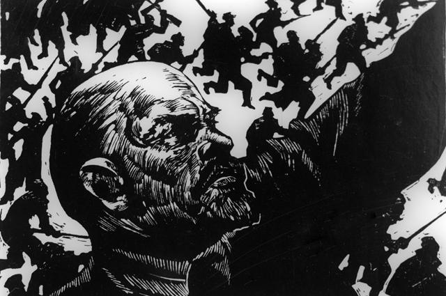 Репродукция иллюстрации ккниге Джона Рида «10дней, которые потрясли мир».