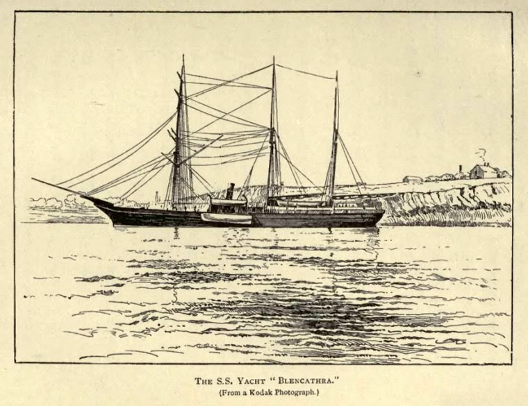 "Яхта «Бленкатра». Рисунок по фотографии, из книги Хелен Пил «Полярные огни: отчёт о путешествии на яхте ""Бленкатра""»"