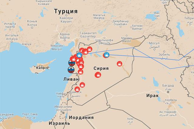 Антитеррористическая операция ВС РФ в Сирии. Интерактивная карта