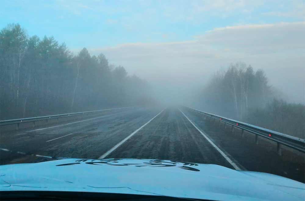В дороге мешал дым лесных пожаров